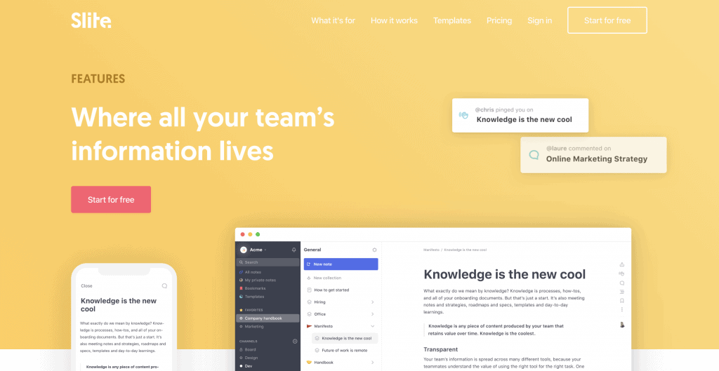 Slite - Tools for remote work